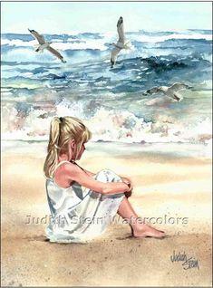 BEACH BREEZE Seagulls Girl 11x15 Giclee by steinwatercolors, $40.00