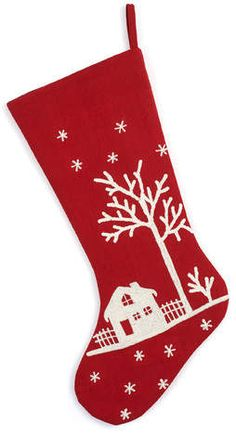 Wayfair Handmade Red Snowy Village Scene Christmas Stocking with White Embroidery link Unique Christmas Stockings, Christmas Stocking Pattern, Felt Stocking, Stocking Ideas, Xmas Stockings, Scandi Christmas, Minimalist Christmas, Christmas Accessories, Christmas Traditions