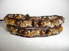 Leather Wrap Beaded Bracelet  2x  Brown by LOVEwhatIdoDesigns