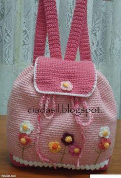 Sweet crocheted pink backpack