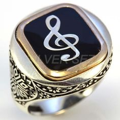 925 men ring silver round black enamel flat treble clef music - 7592