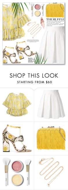 """Spring ruffles"" by jan31 ❤ liked on Polyvore featuring H&M, Boutique Moschino, Gucci, Corto Moltedo, Barneys New York, Terre Mère, White/Space, Maybelline, Spring and pleatedskirts"