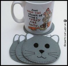 These Cat Face Coasters are made from felt and apart from the whiskers which are machined, have been hand sewn. They measure 9cm from cheek to cheek and tip of ear to chin. I can make other colours if preferred ... please message me with any requests. =^..^=