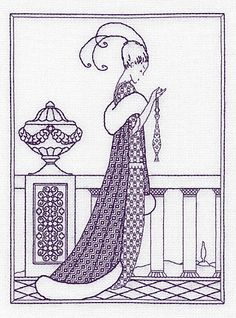 Lady on a Balcony Blackwork Kit by Holbein Embroideries