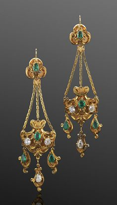 Georgian Yellow Gold Emerald and Diamond Pendant Earrings, circa 1830s Scrolled yellow gold pendants are set with a total of approximately 2.40 carats of old mine diamonds and 3.25 carats of emeralds.