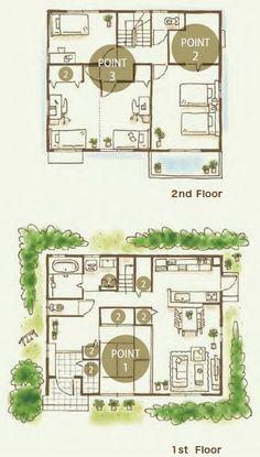 プラン紹介|xevoLi(ジーヴォリアン)|注文住宅|ダイワハウス Apartment Floor Plans, House Floor Plans, Japanese House, 2nd Floor, Architect Design, Small Spaces, Layout, House Design, Flooring