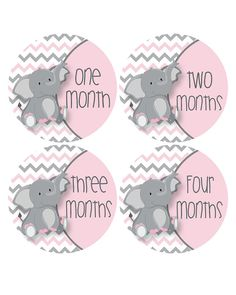 Baby Milestone Growth Stickers Pink and Grey by MoonLitPrintables