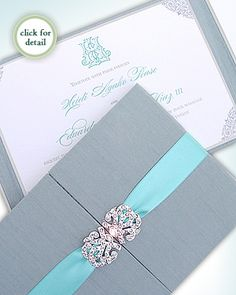 Upscale Wedding Invitations | Luxury Wedding Invitations - Tiffany Blue Silk and Crystal Luxury ...