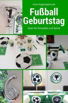 Ideen Für Die Fußball Party: Heliumballons Als Fußball Und Als Pokal,  Luftballons Mit Fußball Aufrdruck. . Kuchen In Form Eines Fußball Feldes,  ...