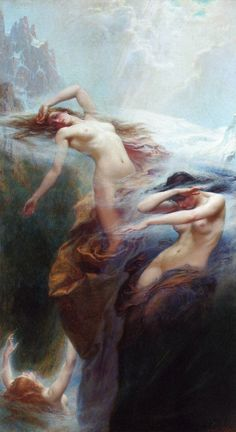 """Clyties of the Mist"" by Herbert James Draper, 1912, oil on canvas."