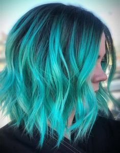 38 fabulous green and blue hair color & hair style design color Ideas in Hair Colors, ombre hair color ideas, green hairstyle Pulp Riot Hair Color, Vivid Hair Color, Pretty Hair Color, Hair Dye Colors, Aqua Color, Color Black, Colour, Long Bob Hairstyles For Thick Hair, Curly Haircuts