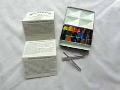 RARE Winsor Newton Artists Compact Water Color Bijiou Box 3 18 Colors Mint   eBay
