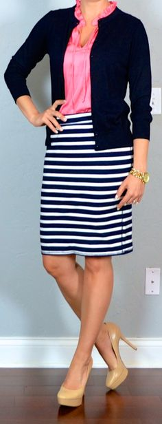 Outfit Posts: outfit post twofer: striped pencil skirt, coral sleevless top, navy cardigan & grey pencil skirt, white button up, pink cardig...
