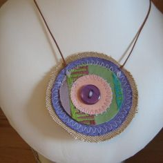 SALE UpCycled Purple and Green Fabric Necklace  £5.00