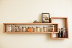 subway tiles with wood shelving