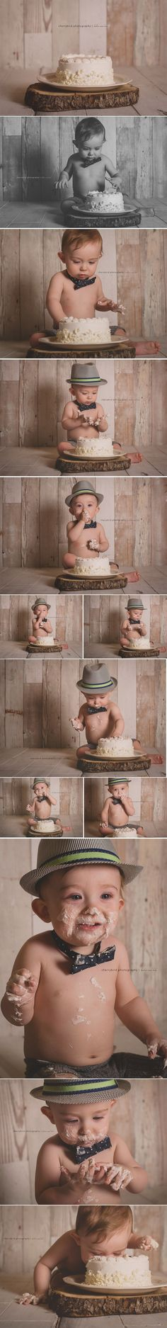 Neutral vintage one year old boy photography session cake smash lake of the…