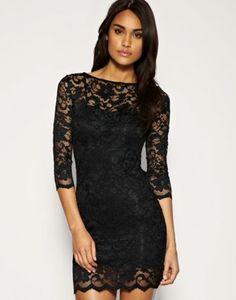 Siyah dantel dar mini elbise