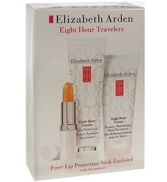 "ELIZABETH ARDEN EIGHT HOUR CREAM SET INTENSIVE MOISTURIZING HAND TREATMENT 75ML + SKIN PROTECTANT 50ML + LIP PROTECTANT STICK SPF 15 3.7G by Elizabeth Arden. $38.00. SEALED, BRAND NEW, NEVER OPENED OR TESTED. ""Elizabeth Arden Eight Hour® Cream is the legendary, award-winning skin protectant that does more than soothe sun-burned skin, rehydrate chapped lips, and heal rough elbows and calluses. It's also the secret that makeup artists all over the world use for keepin..."