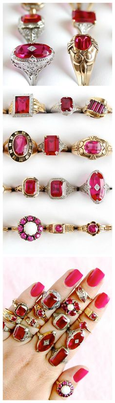 Celebrating July's birthstone with these lovely vintage & antique rings showcasing ruby red / pink stones! <3  https://www.etsy.com/shop/MaejeanVintage?ref=hdr_shop_menu&search_query=ruby