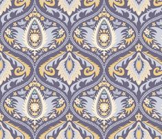 ogee wallpaper violet | large jumbo scale fabric by colorofmagic on Spoonflower - custom fabric