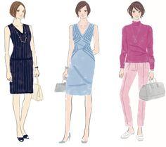 ストレートタイプに似合うコーディネート 出典:森本のり子著「骨格診断(R)とパーソナルカラー診断で見つける似合う服の法則」「骨格診断とパーソナルカラー診断でわたしの魅力を引き出す似合う服のルール」 Dramatic Classic, Woman Sketch, Colour Images, Japanese Fashion, Types Of Fashion Styles, Personal Style, High Neck Dress, Dresses For Work, Couture