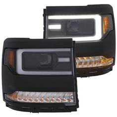 ANZO Chevrolet Silverado 1500 Projector Headlights Plank Style Black with Amber Sequential Turn Signal (Set of Chevy Silverado 1500, Truck Bed Accessories, Chevrolet Tahoe, Chevrolet Auto, Projector Headlights, Tonneau Cover, Fender Flares, Trailer Hitch, Chevy Trucks
