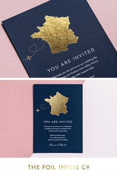 Dreaming of destination weddings – the Loire Valley, France | If you're planning a wedding abroad, these unique foil save the dates are hand printed with a bespoke map design. Available as cards or stylish magnets. Order online…  #WeddingPlanning #SavetheDate #France #DestinationWedding #Gold #Foil Destination Wedding Save The Dates, Our Wedding Day, Destination Weddings, Foil Save The Dates, Save The Date Cards, Foil Wedding Invitations, Wedding Invitation Design, Getting Married Abroad, Wedding Abroad