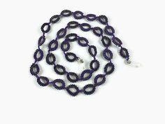 Purple Crocheted Seed Bead Eye Glass chain Beaded by Nakkashe