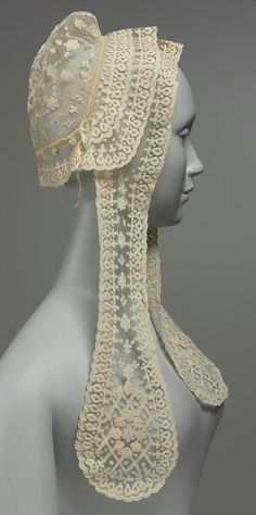 Woman's cap | Carrickmacross, Ireland, mid-19th century | Linen net with linen insertion and cotton embroidery | Museum of Fine Arts, Boston: