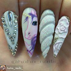 #Unicorns #ArtOnNails #nailtechnails #prettynailart