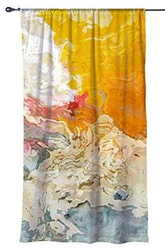 Abstract art window curtain in yellow, orange and white, blackout drapery panel, contemporary rod pocket curtain, The Kiss Drapery Panels, Sheer Curtains, Window Curtains, Bathroom Shower Curtains, Bathroom Stuff, Dream Furniture, Blackout Drapes, Rod Pocket Curtains, Curtain Sets