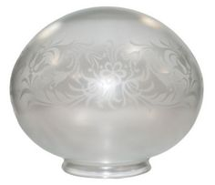 Elegant Vianne Glass Floral Etched Light Shade. Ideal for Pendants, Hanging Swag Lamps, Flush Mount or Semi-Drop Ceiling, Fan, or Wall Sconce Light Fixture.