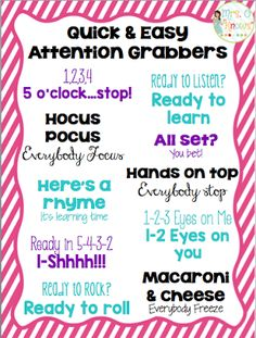 Mrs. O Knows: Introducing Attention Grabbers to Your Classroom