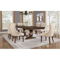 9 pc Darby home co richmond antique rustic walnut finish wood dining table set. This set features a solid wood top table in a rustic wood finish with fabric tufted upholstered side chairs. This set includes the table with 8 - side chairs. 7 Piece Dining Set, Dining Room Sets, Dining Room Furniture, Dining Room Table, Hooker Furniture, Kitchen Tables, Bar Furniture, Furniture Deals, Dining Area