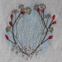 Rosehips, Fennel and Old Man's Beard. A hand embroidered autumn dreamcatcher Silk Ribbon Embroidery, Embroidery Needles, Embroidery Patterns, Hand Embroidery, Lavender Sachets, Sewing Art, Beeswax Candles, Needlework, Diy Crafts