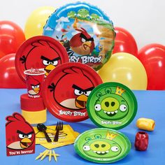 Angry Birds Party Supplies Standard Pack for 8 includes: 8 invitations, dinner plates, dessert plates, cups, forks, spoons, 16 napkins, solid-color tablecover, foil balloon, 12 latex balloons (2 colors), curling ribbons (2 colors), crepe paper rolls (2 colors), and cake candles.  Perfect for any kid's Birthday Party!