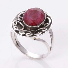 RUBY 925 STERLING SILVER DESIGNER RING 5.11g DJR4520 #Handmade #Ring