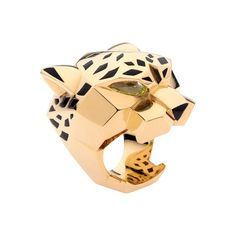 PANTHÈRE RING Yellow gold, peridots, onyx, lacquer. 18K yellow gold ring, peridot eyes, onyx nose, black lacquer spots. $26,900