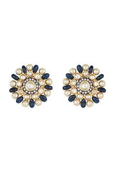 Featuring a pair of yellow rhodium plated earrings studded with faux polki stones and pearls, set in mixed metal. CARE: Store them in moisture free areas and keep them away from water and liquid fragrances. Pernia Pop Up Shop, Exclusive Collection, Designer Wear, Blush Pink, Sapphire, Pearl Earrings, Pearls, Yellow, Metal
