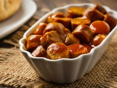 A 5-star recipe for Drunken Bourbon Dogs made in the crock pot made with ketchup, brown sugar, bourbon, water, beef wieners #PotatoAppetizerRecipes