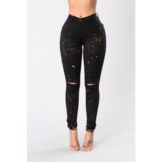 Metallic Art Jeans Black/Rosegold ($15) ❤ liked on Polyvore featuring white jeans