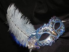 Shades of Blue and Silver Feather Masquerade by TheCraftyChemist07