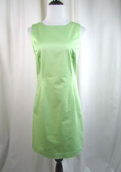Brooks Brothers 346 Mint Sheath Sleeveless Dress Size 6 Career Cotton Excellent #BrooksBrothers