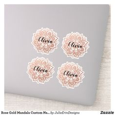 Rose Gold Mandala Custom Name Sticker Cute Laptop Stickers, Name Stickers, Funny Stickers, Decorated Water Bottles, Vinyl Sheets, Personalized Stickers, White Ink, Business Logo, Design Your Own