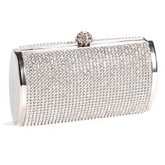Your elegant evening wear isn't complete without a matching clutch. This stunning clutch is encrusted in rhinestones and is finished with a gem clasp. This bag can be worn as a crossbody with a long strap, or as a clutch with no strap.