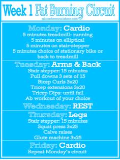 Beginners Fat Burning Workout Curcuit: Week 1
