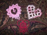 3 small Hearts:  Victorian Heart by Laura Blanton, Ruffled Heart by Vicki Clarke, and Rosemarie's Heart by Rosemarie Peel.   All tatted in 30 thread,...