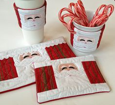 Santa Cup Cozy, Coffee Sleeve and Mug Rugs Set. In the Hoop designs from EmbroideryGarden.com