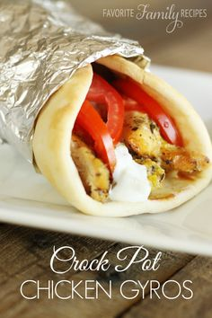 These are the easiest and most delicious Chicken Gyros ever! Only a few minutes of prep time and the crock pot will do the rest!