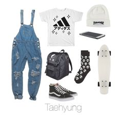 """Skateboarding / BTS"" by youaremorethanbeautiful ❤ liked on Polyvore featuring Topman, Vans and OneTeaspoon"